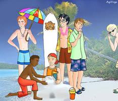 Gryffindor boys at the beach by AgiVega