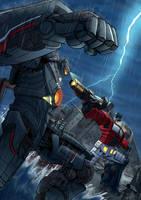 Gipsy Danger vs Optimus Prime [commission] by zimagzeravla