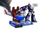 Starscream vs Soundwave [Commission] by zimagzeravla