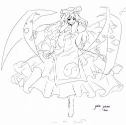Touhou : Yukari Lineart by patamy