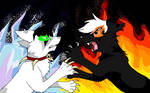 Zak Saturday VS Zak Monday as cats by Hollyleafwolf