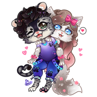 cute fluffy couple commission by momo-kitsugi
