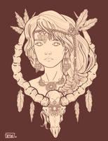 Shaman Girl-line art by not-nene