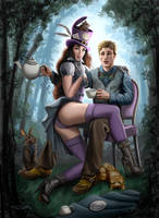 Steampunk Alex in Wonderland with the Madhatter by rebelakemi