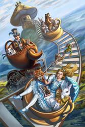 Steampunk Alice in Wonderland Teacup Rollercoaster by rebelakemi