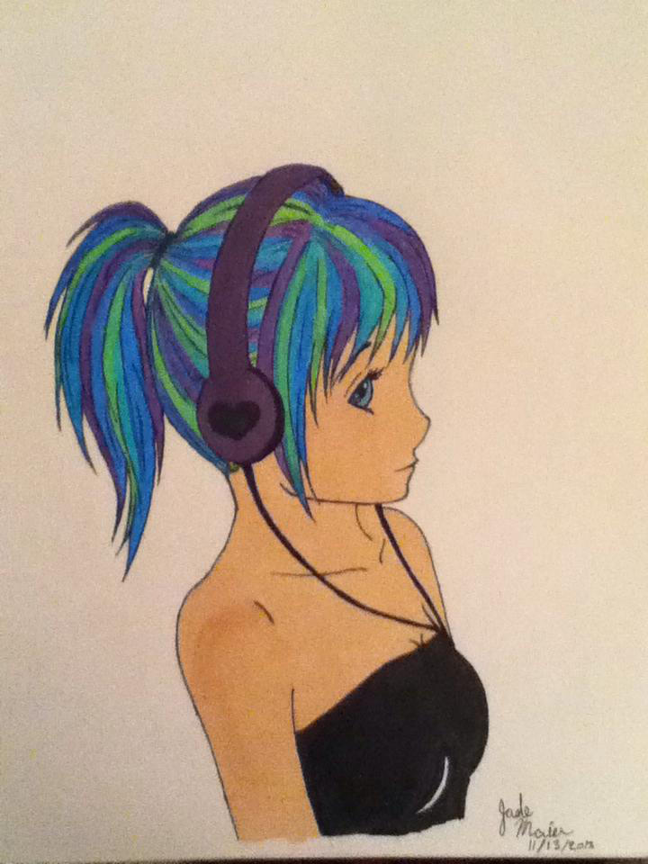 Easy To Draw Anime Girl With Headphones