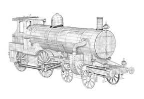 wireframe train by juntao