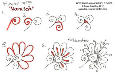 How to draw Paisley Flower 17 Norwich by Quaddles-Roost
