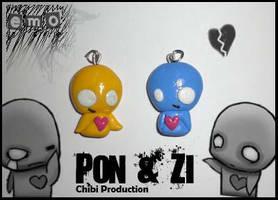 Pon and Zi pendants by Chiaki87