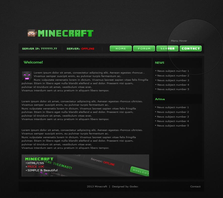 Minecraft HTML CSS Template
