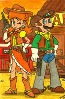 Cowboys and Mushrooms: Luigi and Daisy by Villaman89