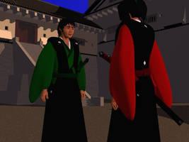Mori Sho talking with Takeda Jiro by Sanjunin49