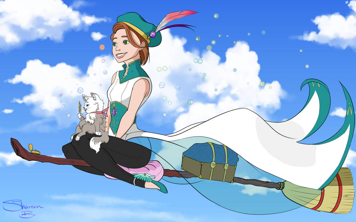 Apprentice Witch Sophie and Mr.Bubbles by GaleRider