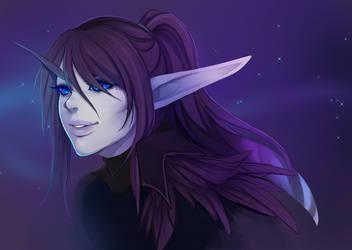 Void elf Warlock doodle by spittfireart