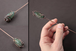 Copper hairpin 'Some kind of magic' by WhiteSquaw