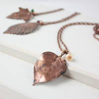 Real lilac leaf necklace by WhiteSquaw