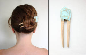 Hello Spring Wooden Hair Fork by WhiteSquaw