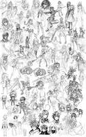 Pencil sketch dump 2013-2014 by HellyonWhite