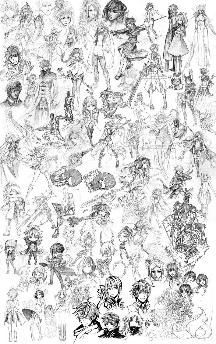 Pencil sketch dump 2013-2014 by HellyonWhite