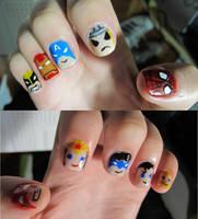 Super hero nails by tharesek