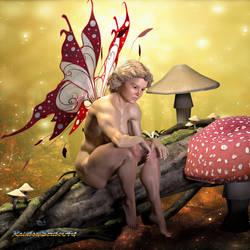 Shy Fairy On Log by MichelleLeRainbow