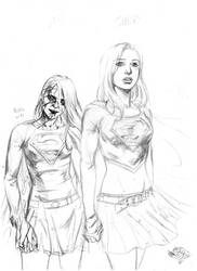 Supergirl and Bizarro Supergirl pencils by MatiasSoto