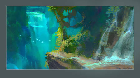 Jungle Waterfall by NathanFowkesArt