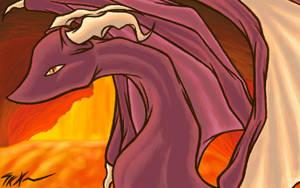 Maroon Dragon in a Volcano by shadowkitsunekirby