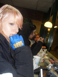 Lightning is eating in subway by Nikki026
