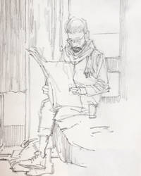 Man reading morning newspaper. by aminamat