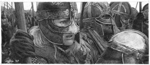 Eowyn before the battle by pixeleiderdown