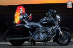Female Ghost Rider on Motorcycle by Pokypandas