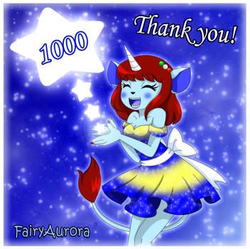 1000 Watchers! Thank You! by FairyAurora