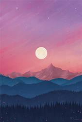 Moon at Sunset by moisesrodriguez-art