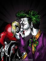 Harley Quinn and the Joker by elainascissorhands