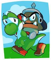 Goombapatrol and Yoshi (request) by zazzers