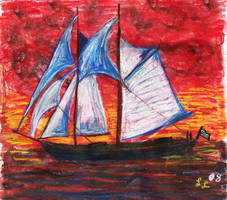 Sailing Ship at Sunset by angelstar22