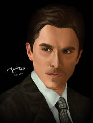 Christian Bale Digital Painting Portrait by jesslynlcl