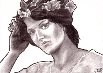 Woman with flowers by jennyW