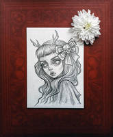 Original art in the format of a postcard by BlackFurya