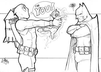 Batman, Deadpool, and Dexstarr ACen 2015 by ComfortLove