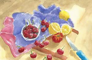 Lots of Cherries, two Lemons and a Flat Peach by Tabascofanatikerin
