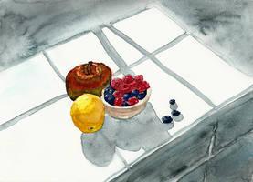 Raspberries, Blueberries, a Lemon and an Apple by Tabascofanatikerin