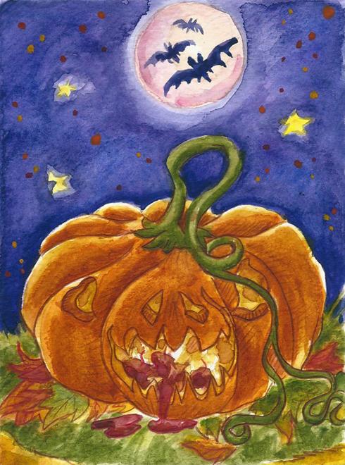Pumpkin in Halloween Night by Tabascofanatikerin