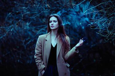 smoking girl by psychiatrique