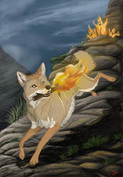 Coyote Brings Fire by PrinzeBurnzo