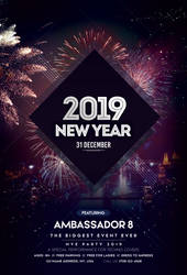 Happy New Year 2019 Free PSD Flyer Template by pixelsdesign-net