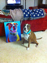 Buster and his portrait by dawgart