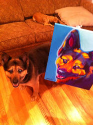 Sammie and her portrait by dawgart