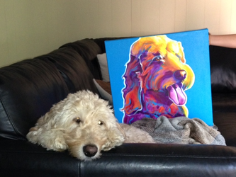 Dawny and her painting by dawgart